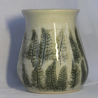 Handmade Wheel Thrown Vase with Leaf Design
