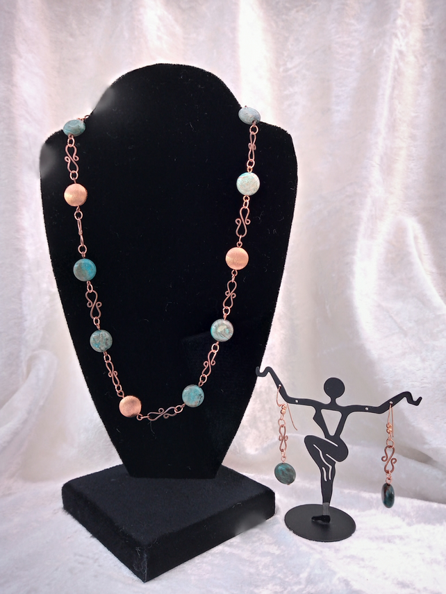 "Blue Sky Jasper and Copper necklace (18"") and earrings"