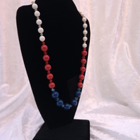 "Swarovski pearls and crystal necklace 18"" red, blue and white"