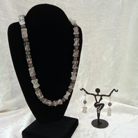 Rutilated Quartz and antiqued filigree silver-plated beads, matching earrings