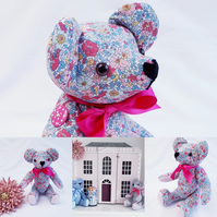 Handmade Teddy Bear, Liberty Print, jointed, CE Marked