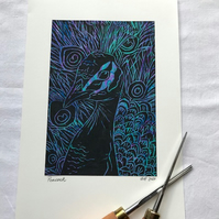 Peacock Linocut Print on Peacock feather Marbled Paper background