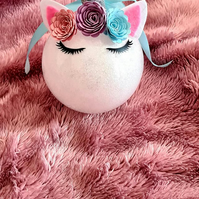 large unicorn bauble 8cm glitter personalised