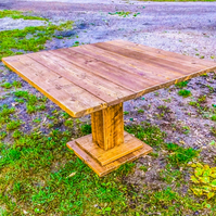Rustic Reclaimed Scaffold Board Industrial Style Pedestal Square Dining Table