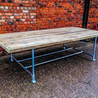Rustic Reclaimed Scaffold Board Industrial Style Dining Table 5 Plank
