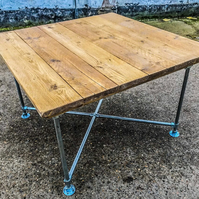 Rustic Reclaimed Scaffold Board Industrial Style Square Dining Table