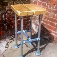 Chunky Rustic Reclaimed Solid Pine Industrial Style Stool
