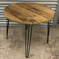 Rustic Reclaimed Scaffold Board Industrial Style Round Circular Dining Table