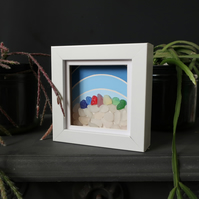 Sea glass wall art, colourful rainbow and gradient painting, small shadow box