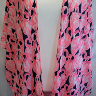 Flamingo print Kimono Plus oversized cover up fits sizes 22,24,26,28,30