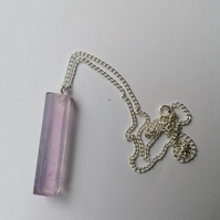 Silver plated chain with rectangular purple pendant