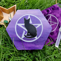Wooden Pentacle Cat Painted Box