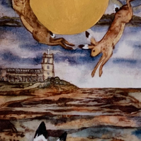 that night of the golden moon saw hares leap and dance- limited edition card