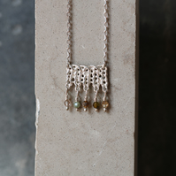 Silver knitted textured pendant with semi-precious tourmaline beads - Handmade