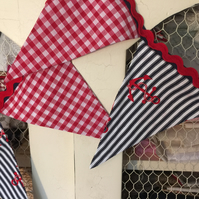 Handmade nautical 13 fabric pennant bunting: for the pirates in your house!