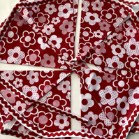 Handmade white and red flower fabric bunting