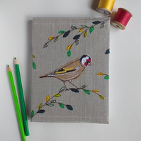 A5 Hardback Notebook with Embroidered Goldfinch on a Removable Cover