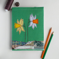 A5 Hardback Notebook with Embroidered Daffodils on a Removable Cover