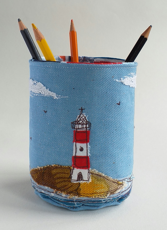 Fabric Pencil Pot with Embroidered Lighthouse