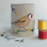 Goldfinch Embroidered Lantern for Battery Tealight