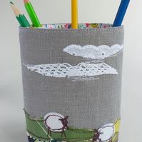 Fabric Pencil Pot with Embroidered Sheep in a Field