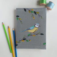 A5 Hardback Notebook with Embroidered Blue-tit on a Removable Cover