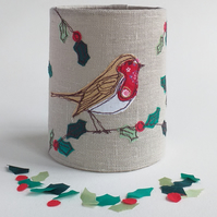 Robin Embroidered Lantern for Battery Tealight