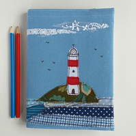 A5 Hardback Notebook with Embroidered Lighthouse on a Removable Cover