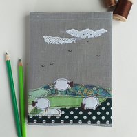 A5 Hardback Notebook with Embroidered Sheep on a Removable Cover