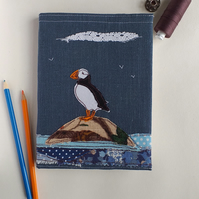 A5 Hardback Notebook with Embroidered Puffin on a Removable Cover