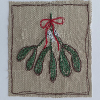 Embroidered Mistletoe Card