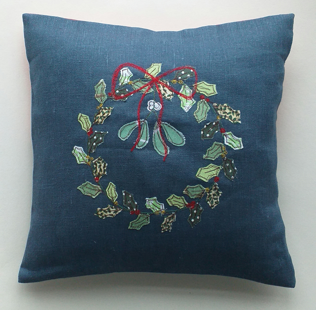 Christmas Wreath Embroidered Cushion