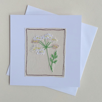 Embroidered Cow Parsley Card