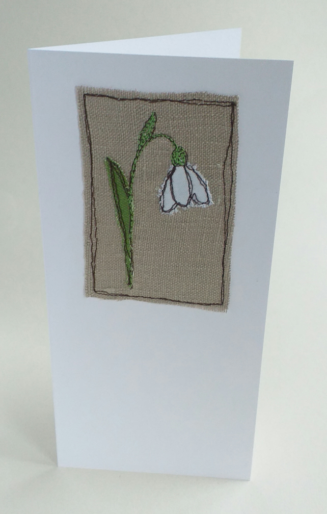 Embroidered Snowdrop 4 Card