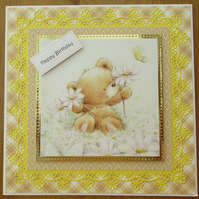 8x8 Bear with Daisies Card - Yellow