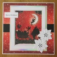 8x8 Santa & Sleigh Silhouette Christmas Card - Red