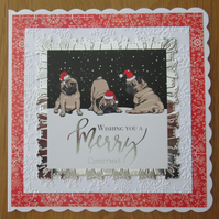 "7x7"" Pugs in Santa Hats - Christmas Card"