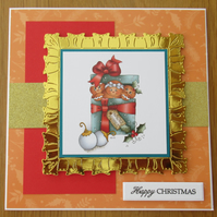 "7x7"" Gingerbread Family in a Box - Christmas Card"