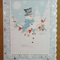 A5 Snowman with Birdhouse -  Christmas Card
