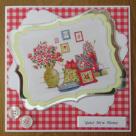 "7x7"" Flowers, Presents & Cushions - New Home Card"