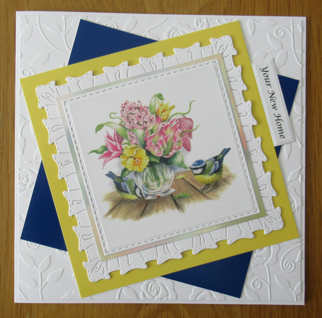 "7x7"" Bluetits & Flowers on Table - New Home Card"