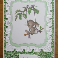 A5 Bunny On A Swing - With Love - Any Occasion Card