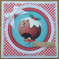 "Two Mice Eating A Christmas Pudding - 7x7"" Christmas Card"