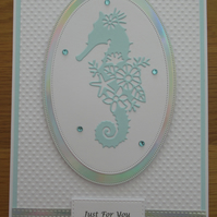 Seahorse Silhouette - A5 Just For You Card - Aqua