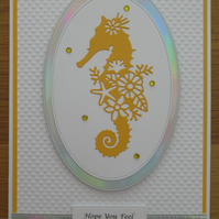 Seahorse Silhouette - A5 Feel Better Soon Card - Bright Yellow
