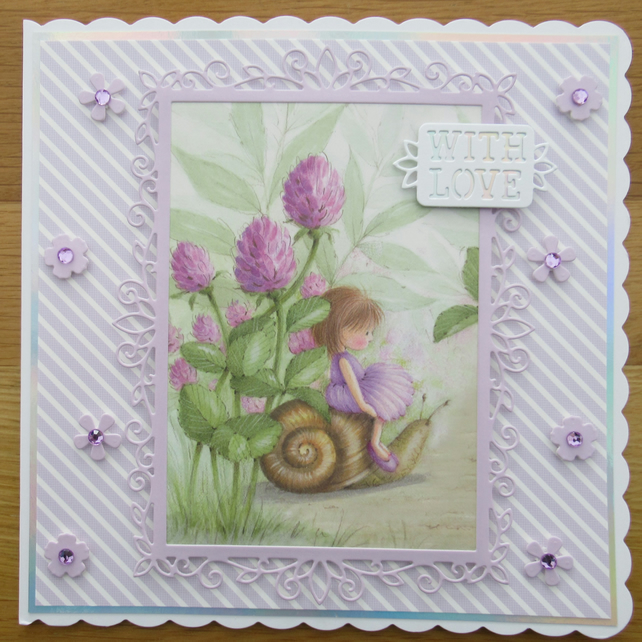 "Fairy Among The Clover - 8x8"" With Love Card"