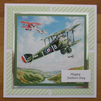 "Biplanes In The Sky - 7x7"" Father's Day Card"