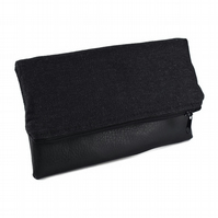 Black Recycled Fabric and Leather Foldover Clutch Bag