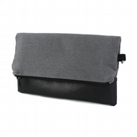 Grey Recycled Fabric and Leather Foldover Clutch Bag