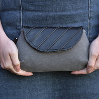 Grey Recycled Patchwork Clutch